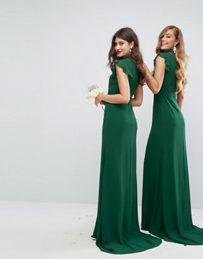 photo Flutter Sleeve Fitted Maxi Dress in Chiffon by TFNC WEDDING, color Forest Green - Image 2