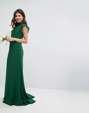 photo Flutter Sleeve Fitted Maxi Dress in Chiffon by TFNC WEDDING, color Forest Green - Image 1