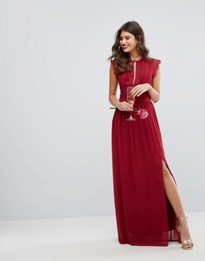 photo Lace Detail Maxi Dress by TFNC WEDDING, color Winter Wine - Image 1