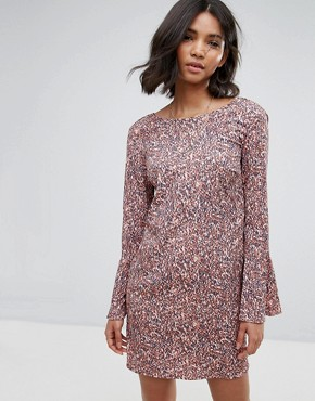 photo Printed Fluted Sleeve Dress by Vila, color Multi - Image 1