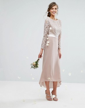 photo Lace Midi Dress with Bow Back by TFNC Tall WEDDING, color Mink - Image 2