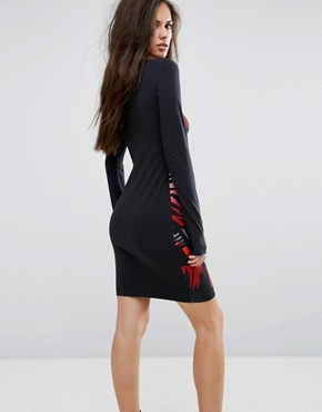 photo Animal Print Bodycon Dress with Contrast Sleeve by Versace Jeans, color Multi - Image 2
