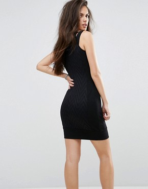 photo Cut Out Bodycon Dress with Chevron Print by Versace Jeans, color Black - Image 2