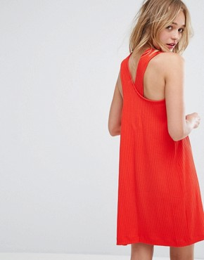 photo Cross Back Ribbed Mini Dress by Monki, color Red - Image 2