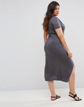 photo Short Sleeve Wrap Over Open Split Maxi Dress by Club L Plus, color Grey Charcoal - Image 2
