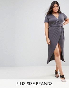photo Short Sleeve Wrap Over Open Split Maxi Dress by Club L Plus, color Grey Charcoal - Image 1