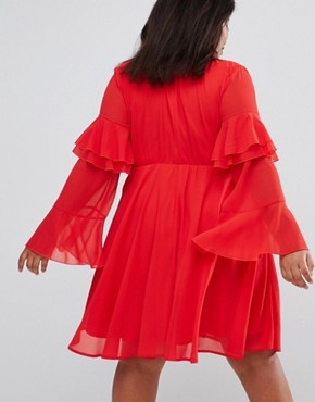 photo High Neck Detailed Tiered Arm Dress by Club L Plus, color Red Solid - Image 2