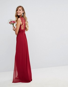photo Lace Detail Maxi Dress by TFNC Tall WEDDING, color Winter Wine - Image 2