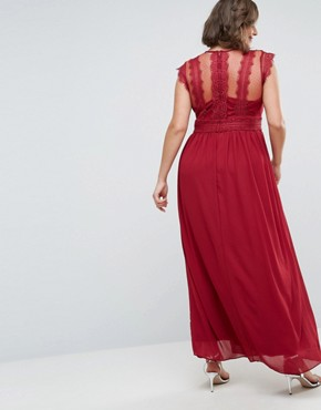 photo Lace Detail Maxi Dress by TFNC Plus WEDDING, color Winter Wine - Image 2