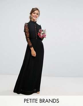 photo Pleated High Neck Lace Sleeve Maxi Dress by TFNC Petite WEDDING, color Black - Image 1