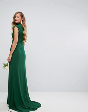photo Flutter Sleeve Fitted Maxi Dress in Chiffon by TFNC Tall WEDDING, color Forest Green - Image 2