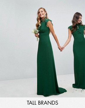 photo Flutter Sleeve Fitted Maxi Dress in Chiffon by TFNC Tall WEDDING, color Forest Green - Image 1