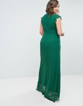 photo Flutter Sleeve Fitted Maxi Dress in Chiffon by TFNC Plus WEDDING, color Forest Green - Image 2