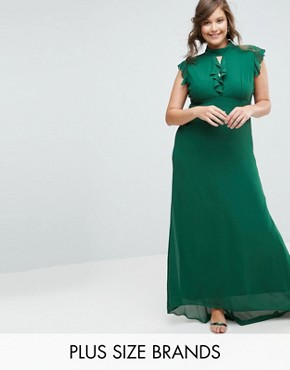 photo Flutter Sleeve Fitted Maxi Dress in Chiffon by TFNC Plus WEDDING, color Forest Green - Image 1