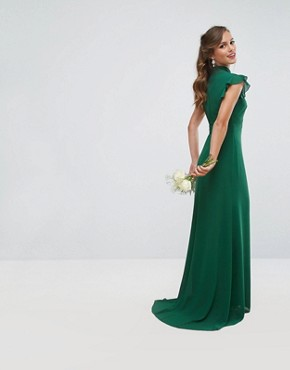 photo Flutter Sleeve Fitted Maxi Dress in Chiffon by TFNC Petite WEDDING, color Forest Green - Image 2