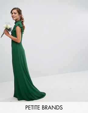 photo Flutter Sleeve Fitted Maxi Dress in Chiffon by TFNC Petite WEDDING, color Forest Green - Image 1