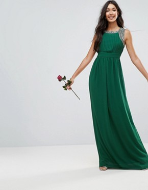 photo Embellished Back Maxi Dress by TFNC Tall WEDDING, color Forest Green - Image 2