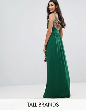 photo Embellished Back Maxi Dress by TFNC Tall WEDDING, color Forest Green - Image 1