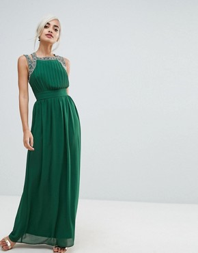photo Embellished Back Maxi Dress by TFNC Petite WEDDING, color Forest Green - Image 2