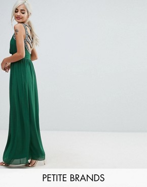 photo Embellished Back Maxi Dress by TFNC Petite WEDDING, color Forest Green - Image 1