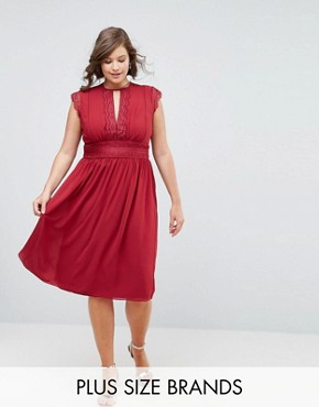 photo Lace Detail Midi Dress by TFNC Plus WEDDING, color Winter Wine - Image 1