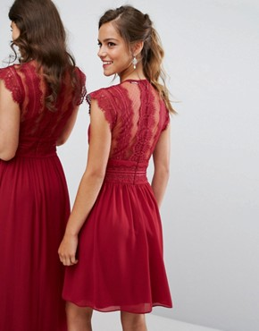 photo Lace Detail Midi Dress by TFNC Petite WEDDING, color Winter Wine - Image 2