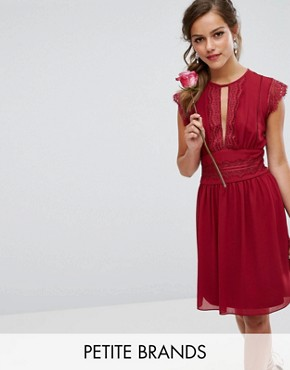 photo Lace Detail Midi Dress by TFNC Petite WEDDING, color Winter Wine - Image 1