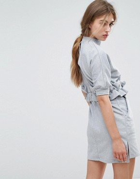 photo High Neck Sweat Dress with Ruffle Trim Waist by Lost Ink, color Grey - Image 2