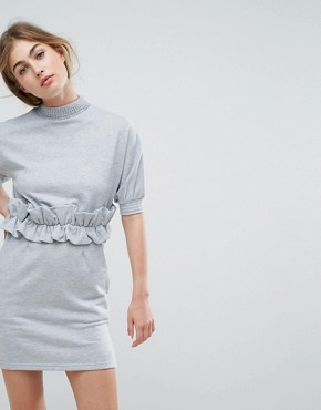 photo High Neck Sweat Dress with Ruffle Trim Waist by Lost Ink, color Grey - Image 1