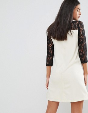 photo Asymmetric Lace Sleeve Tunic Dress by Paper Dolls, color Cream/Black - Image 2