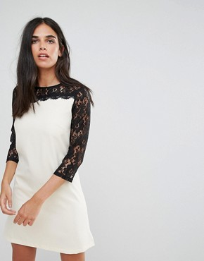 photo Asymmetric Lace Sleeve Tunic Dress by Paper Dolls, color Cream/Black - Image 1