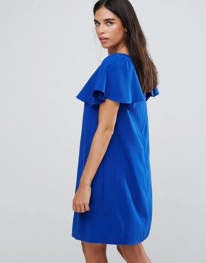 photo Shift Dress with Frilled Capped Sleeves by Paper Dolls, color Blue - Image 2