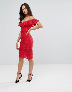 photo Lace Pencil Dress with Frill Overlay by Little Mistress, color Red - Image 4