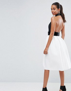 photo Mono Belted Halter Neck Midi Prom Dress by ASOS, color Multi - Image 2