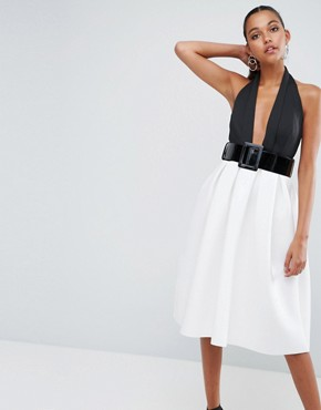 photo Mono Belted Halter Neck Midi Prom Dress by ASOS, color Multi - Image 1