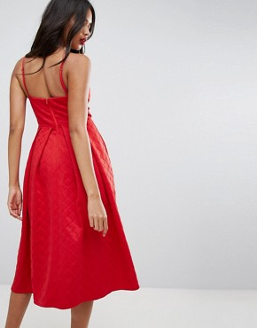 photo Scuba Quilted Prom Midi Dress with Gathered Bodice by ASOS, color Red - Image 2