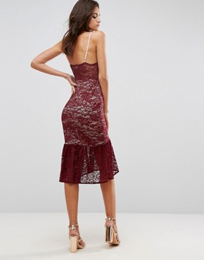 photo Lace Plunge Pephem Midi Dress by ASOS, color Red - Image 2
