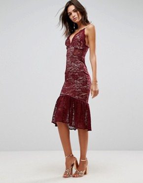 photo Lace Plunge Pephem Midi Dress by ASOS, color Red - Image 1