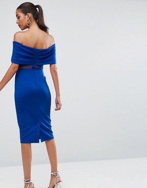 photo Bardot Dobby Mesh Cut Out Midi Bodycon Dress by ASOS, color Cobalt - Image 2