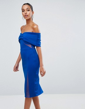 photo Bardot Dobby Mesh Cut Out Midi Bodycon Dress by ASOS, color Cobalt - Image 1