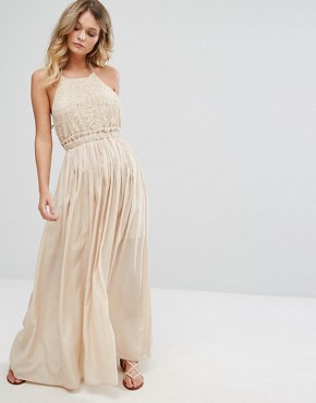 photo Sleeveless Maxi Dress by Moon River, color Nude - Image 1