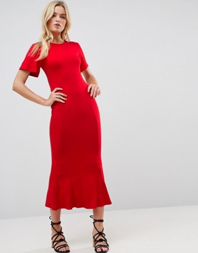 photo Maxi Tea Dress with Open Back Detail by ASOS, color Red - Image 2