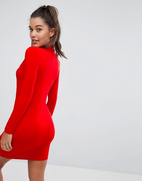 photo Mini Asymmetric Rouched Bodycon Dress with High Neck by ASOS, color Red - Image 2