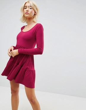 photo Mini Smock Dress with Panels by ASOS, color Berry - Image 1