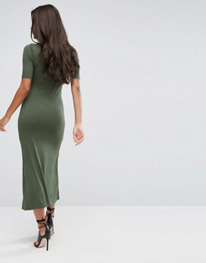photo Double Split Front Maxi Dress by ASOS ULTIMATE, color Khaki - Image 2