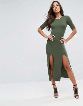 photo Double Split Front Maxi Dress by ASOS ULTIMATE, color Khaki - Image 1