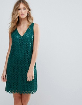 photo Heloise Mesh Lace Cocktail Dress by Deby Debo, color Blue - Image 1