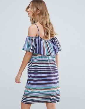photo Louane Layered Striped Dress by Deby Debo, color Blue - Image 2