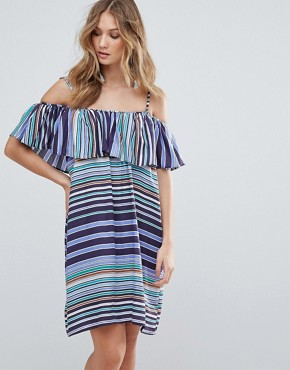 photo Louane Layered Striped Dress by Deby Debo, color Blue - Image 1