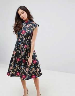 photo Midi Dress in Jacquard with Mandarin Neck Detail by Chi Chi London, color Multi - Image 1